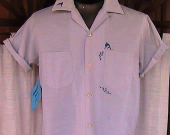Medium vintage 60s Cotton Short sleeve marlin shirt
