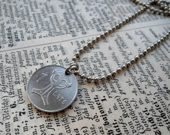 Owl necklace, Coin Jewelry, Owl coin pendant necklace, Latvia - 2007 coin, Owl jewelry