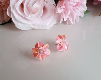 Earrings flower sequins and beads