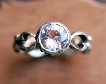 Pink morganite engagement ring, morganite ring, bezel set ring, infinity ring, ethical engagement ring, recycled silver ring, Wrought custom