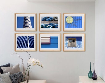 Blue 6H Print Collection.  Detail photography, blue decor, architecture, boats, wall art, artwork, large format photo.