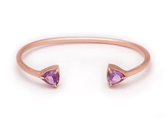 Gemstone Cuff Bracelet - Rose Gold Gemstone Bangle - Amethyst Cuff - Rose Gold Cuff - Purple Amethyst Gemstone Bangle