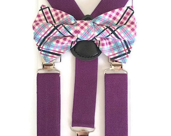 boys purple bow tie and suspenders set, boys purple bow tie, boys grey suspenders, purple wedding, ring bearer outfit, baby purple bow tie