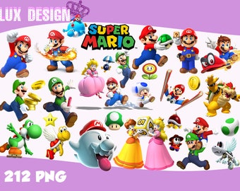 212 Super Mario ClipArt-  PNG Images 300dpi Digital, Clip Art, Instant Download, Graphics transparent background Scrapbook
