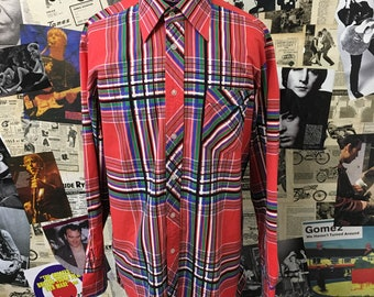 Vintage 1970s Shirt by Scala Red Check Dagger Collar Black Green Long Sleeve Size Large Free UK & Cheap Worldwide Postage