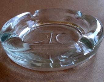1980's Hilton Hotel Ashtray Heavy Glass