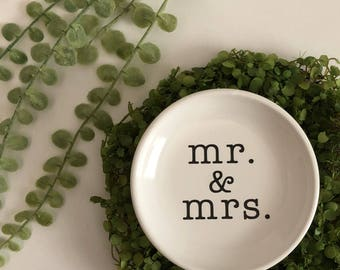 Mr. & Mrs. Ring Dish, Gift for Bride, Gift for Her, Bridal Shower Gift