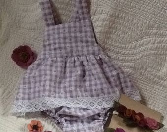 Lilac daisy checked cotton skirted romper