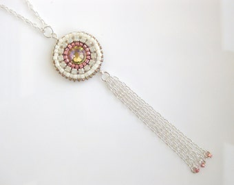 Cream and Peach Beaded Long Tassel Pendant Necklace Silver With Swarovski Crystals