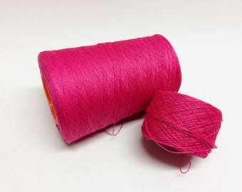 100g 100% linen yarn 3ply linen thread bright fuchsia pink