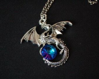 Flying dragon bluepink crystal necklace