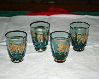 Vintage Blue Shot Glass Gold Leaf Grapevine Cordials Set of 4 Whiskey Bourbon Shot Glasses Bar Collectible Barware Memorabilia Breweriana
