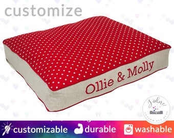 Dog Bed with Name Embroidery | Red, Linen, Polka Dot | Supportive Foam or Fiberfill Insert | Design Your Own!