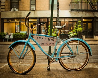 Personalized Wedding Gift Bicycle New York City Nyc Bike Urban Customized Names Photo Anniversary Valentines Day pp68