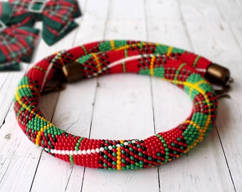Red green crochet beaded necklace Seed bead rope necklace Tartan pattern Scottish jewelry Bead crochet rope Women's Mothers Day gift idea