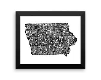 Iowa typography map art FRAMED print customizable personalized state poster custom wall decor engagement wedding housewarming gift