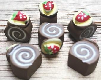 3 pcs.8x12mm.Miniature Cabochon Cakes,Miniature Cookies,Miniature Cake Cabochon,Resin,Miniature Sweet,Miniature Cake Roll Cabochon
