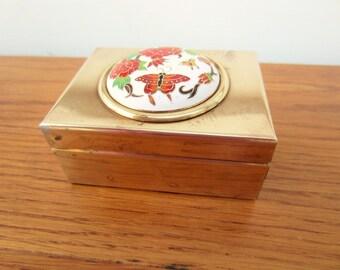 Brass rectangle box.  Butterfly brass box.