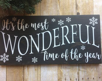 Winter decor sign, It's the most wonderful time of the year, Christmas Carol, Farmhouse Winter Decor, Christmas Decor Sign
