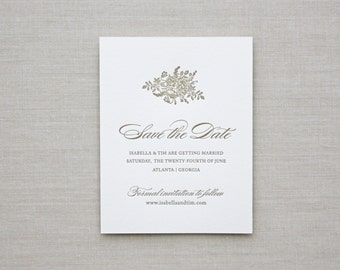 Letterpress Save the Date- Bouquet Save the Date, Monogram, Classic, Traditional, Gold, Formal