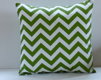 Green Chevron Pillow Cover- Green and White Decorative Couch Pillow 18x18- Ready to Ship