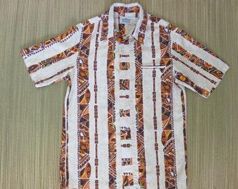 Vintage Hawaiian Shirt MALIHINI 70s Surf Groovy Mod Wiki Tiki Tribal RARE Concealed Front Button Panel Mens - M - Oahu Lew's Shirt Shack