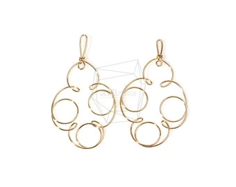 PDT-759-G/4PCS/Wire Cloud Pendant/46mm x 51mm/Gold Plated Over Brass