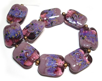 Handmade Glass SRA Lampwork Beads, Violet Dreams Squeezed