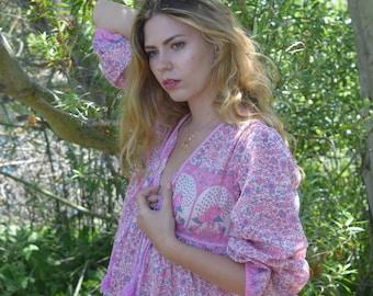 Bohemian Peasant Dress, Hippie maxi dress, boho cotton dress, boho bib dress, Peasant dress, Maternity dress, retro dress, peasant blouse