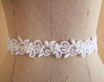 White  Beaded Flower Lace with Satin Ribbon Sash // Bridal Sash , Bridesmaid Sash, Head tie, Headband , Wedding Sash