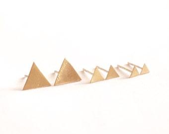 Triangle Stud Earring Gift Set 14k Gold Stud Earrings, sterling silver Stud Earrings, Brass Stud Earrings Small Earring Gift Set 0190