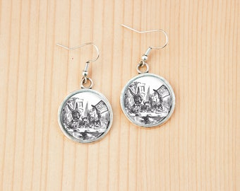 Tea party Alice in Wonderland round earrings glass picture art present gift idea christmas birthday mad hatter