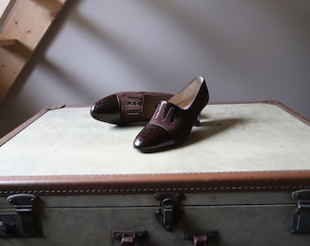 Vintage women's shoes / / Richelieu heel / / brown suede and crocodile leather shoes / / VTG Leather Shoes Richelieu