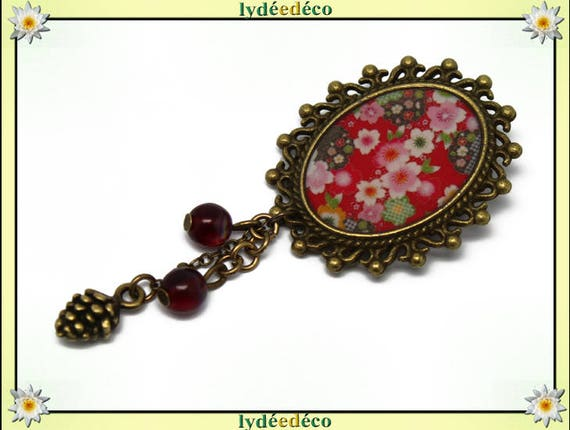Retro pin resin brass pendant white red green pink cherry blossom SAKURA oval 18 x 25mm charm beads pinecone