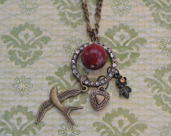 Vintage Valentine Red Charm Necklace, Dangling Charm Necklace, Red Carnilian Agate Bead, Soaring Bird, Rhinestone Circle, Vintage Assemblage