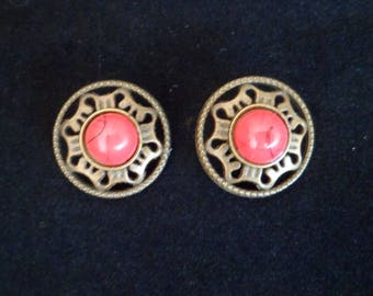2 Cabochon red 18 mm, Bronze Metal shank buttons