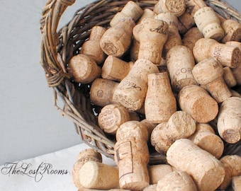 Salvaged Natural Champagne Corks Lot of 25 - Champagne Corks To Repurpose