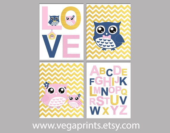Light pink gold and navy owl nursery Art Print Set baby