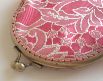 Pink Lace Slim Purse with Antique Brass clasp