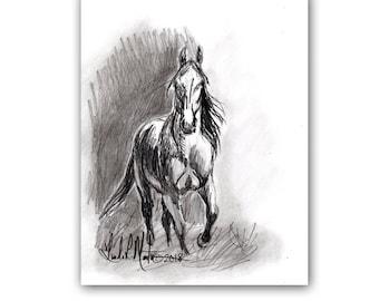 Wild Horse Mustang Art Original Graphite Drawing  LLMartin Country Ranch Pony Free Shipping USA