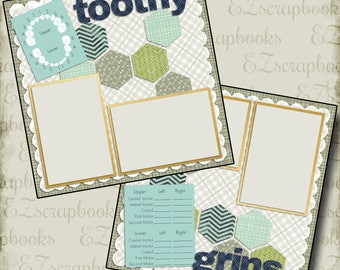 TOOTHY GRINS Boy - 2 Premade Scrapbook Pages - EZ Layout 762