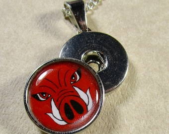 Hog Snap Charm, Red Hog Button Charm, Hog Jewelry, Hog Snap Jewelry, Hog Gift, Arkansas Fan Gift, Razorbacks Fan Gift