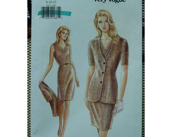 Fitted Straight Dress Pattern, V-neck, Sleeveless, Belt, Long Jacket, V-neck, Short Sleeves, Vogue No. 9253 UNCUT Size 8 10 12