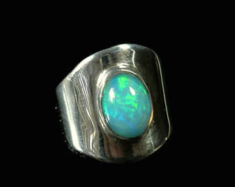 Natural Opal Ring Sterling Silver Blue Opal Ring Opal Statement Ring