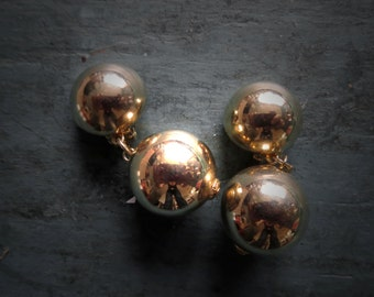 80s Gold Tone Double Bauble Earrings Clip On
