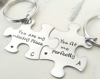 Puzzle piece keychains you are my missing piece custom  hand stamped stainless  steel set of two jewelry long distance relationship