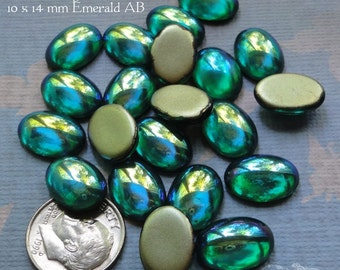 Vintage Cabochons - 10x14 mm Emerald AB - 6 West German Smooth Glass Stones