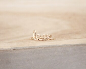 Love ring, love script ring, love cursive ring, ring, dainty, cursive ring, word ring, script ring