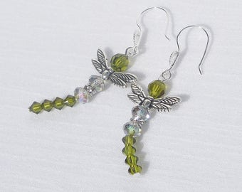 Swarovski crystal and silver plated dragonfly earrings
