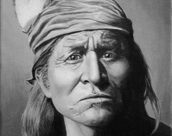Original Canvas Painting, APACHE WARRIOR ~ 14 x 11 inches (unframed)